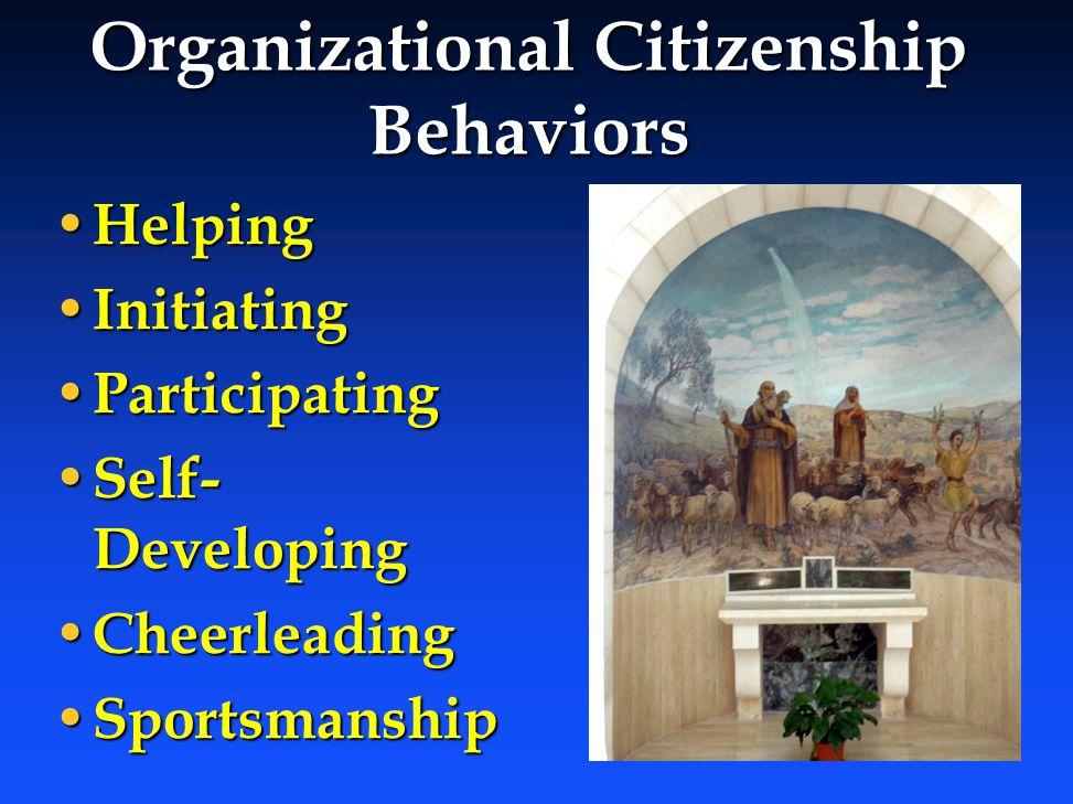 Organizational Citizenship Behaviors Helping Helping Initiating Initiating Participating Participating Self- Developing Self- Developing Cheerleading Cheerleading Sportsmanship Sportsmanship