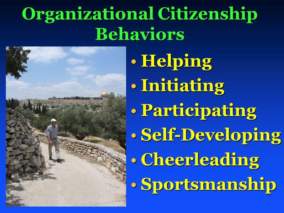 Organizational Citizenship Behaviors HelpingHelping InitiatingInitiating ParticipatingParticipating Self-DevelopingSelf-Developing CheerleadingCheerleading SportsmanshipSportsmanship