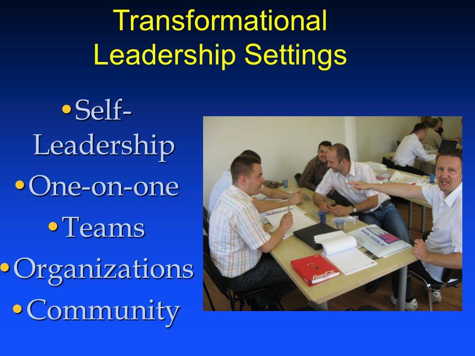 Self- LeadershipSelf- Leadership One-on-oneOne-on-one TeamsTeams OrganizationsOrganizations CommunityCommunity Transformational Leadership Settings