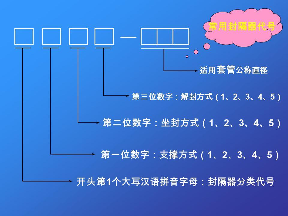 第一位数字:支撑方式( 1 、 2 、 3 、 4 、 5 ) 第二位数字:坐封方式( 1 、 2 、 3 、 4 、 5 ) 第三位数字:解封方式( 1 、 2 、 3 、 4 、 5 ) 开头第 1 个大写汉语拼音字母:封隔器分类代号 适用 套管 公称直径 常用封隔器代号