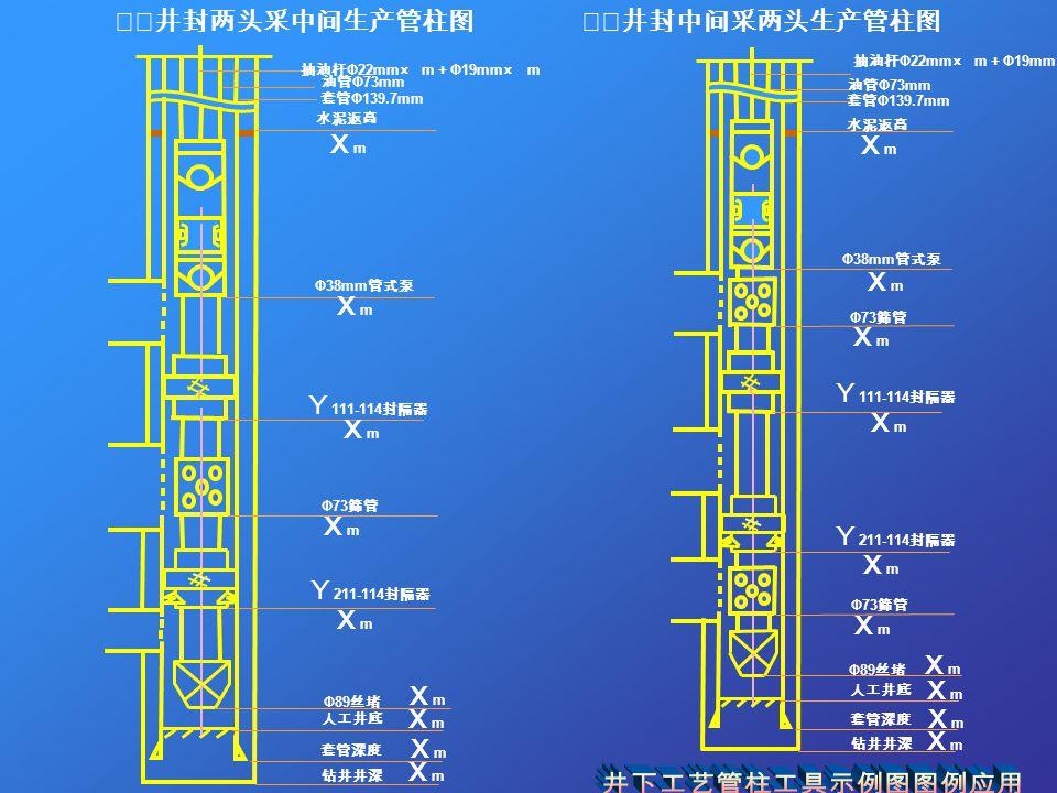 ⅹⅹ井封两头采中间生产管柱图 抽油杆 Φ22mm× m + Φ19mm× m ⅹⅹ井封中间采两头生产管柱图 抽油杆 Φ22mm× m + Φ19mm× m