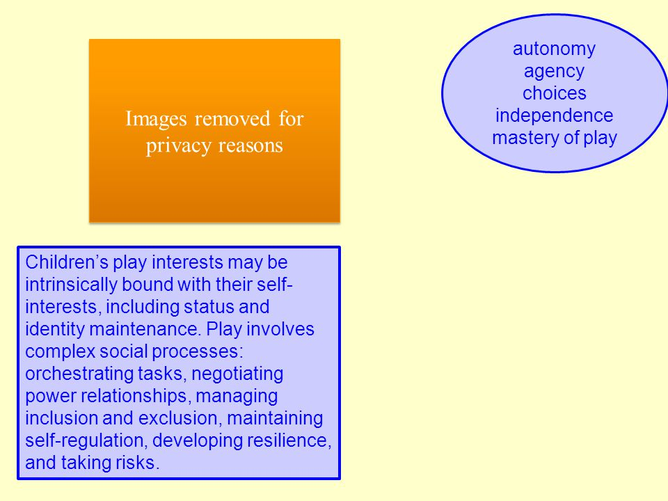 autonomy agency choices independence mastery of play Children's play interests may be intrinsically bound with their self- interests, including status and identity maintenance.