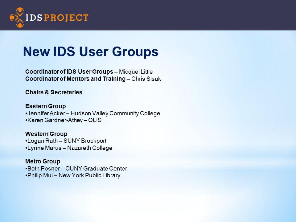 New IDS User Groups Coordinator of IDS User Groups – Micquel Little Coordinator of Mentors and Training – Chris Sisak Chairs & Secretaries Eastern Gro