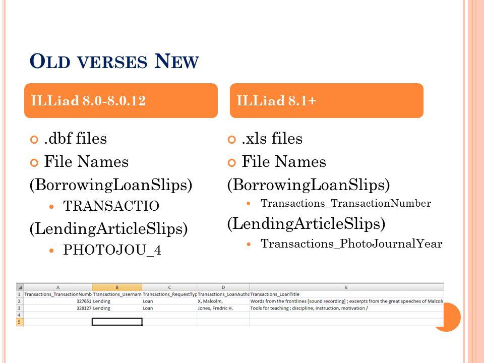 O LD VERSES N EW.dbf files File Names (BorrowingLoanSlips) TRANSACTIO (LendingArticleSlips) PHOTOJOU_4.xls files File Names (BorrowingLoanSlips) Transactions_TransactionNumber (LendingArticleSlips) Transactions_PhotoJournalYear ILLiad 8.0-8.0.12ILLiad 8.1+