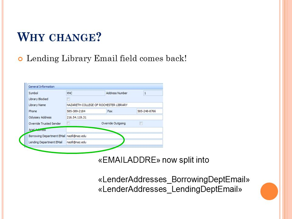 W HY CHANGE . Lending Library Email field comes back.