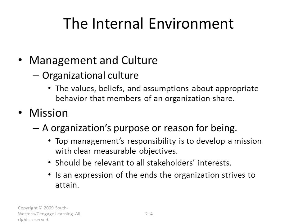 Copyright © 2009 South- Western/Cengage Learning. All rights reserved. 2–4 The Internal Environment Management and Culture – Organizational culture Th