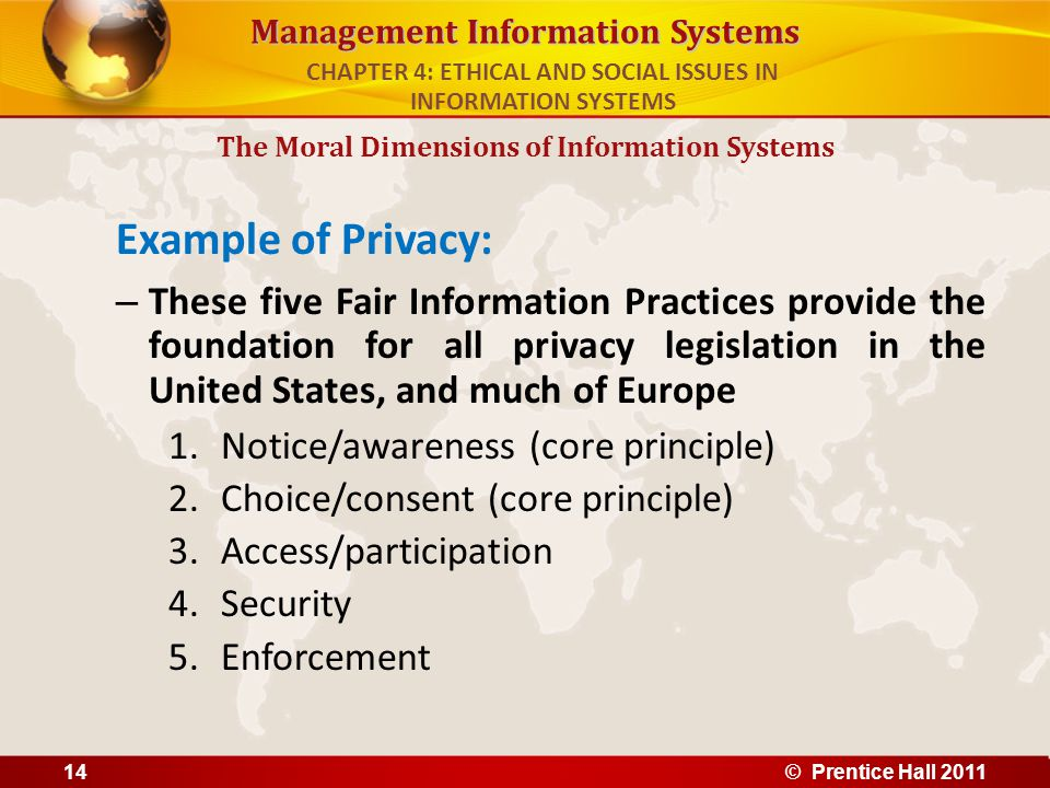 Management Information Systems Example of Privacy: – These five Fair Information Practices provide the foundation for all privacy legislation in the U