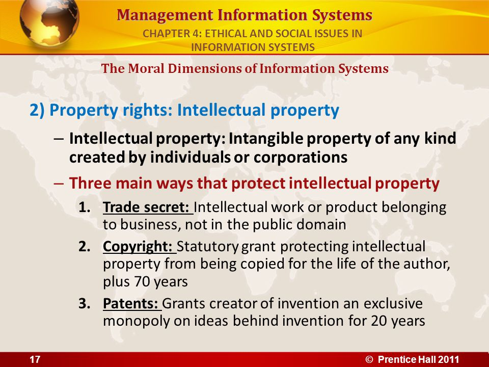 Management Information Systems 2) Property rights: Intellectual property – Intellectual property: Intangible property of any kind created by individua