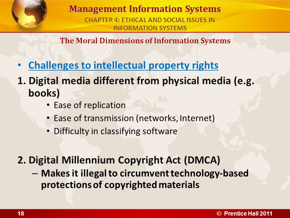 Management Information Systems Challenges to intellectual property rights 1. Digital media different from physical media (e.g. books) Ease of replicat