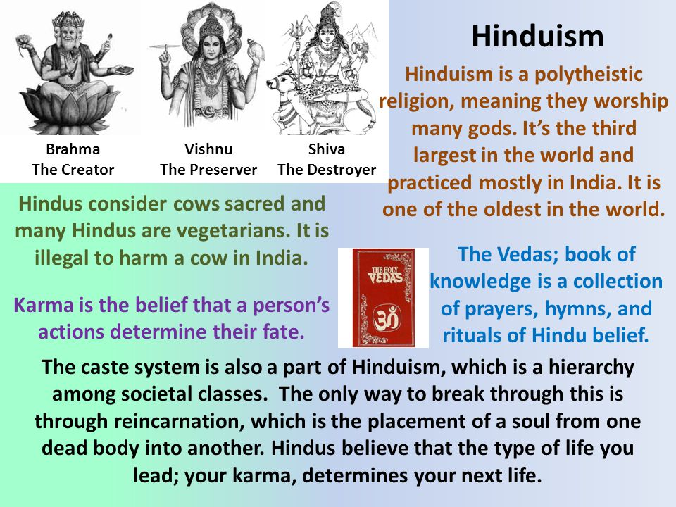 Hinduism The caste system is also a part of Hinduism, which is a hierarchy among societal classes.