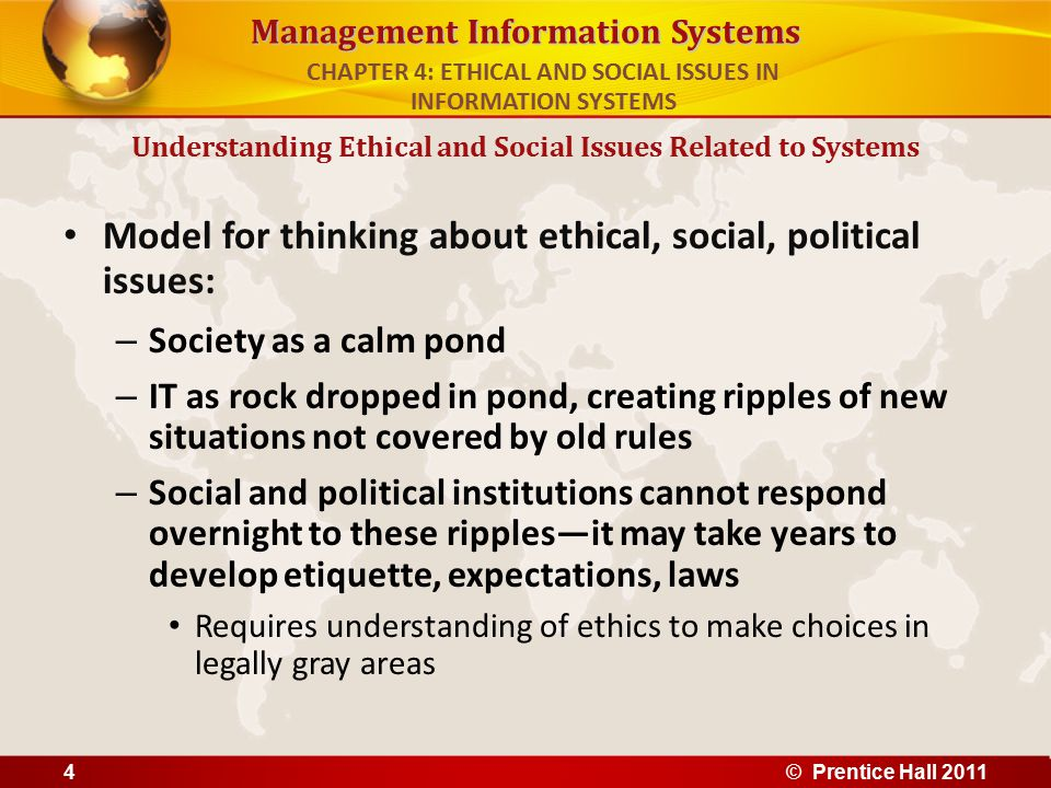 Management Information Systems Model for thinking about ethical, social, political issues: – Society as a calm pond – IT as rock dropped in pond, crea