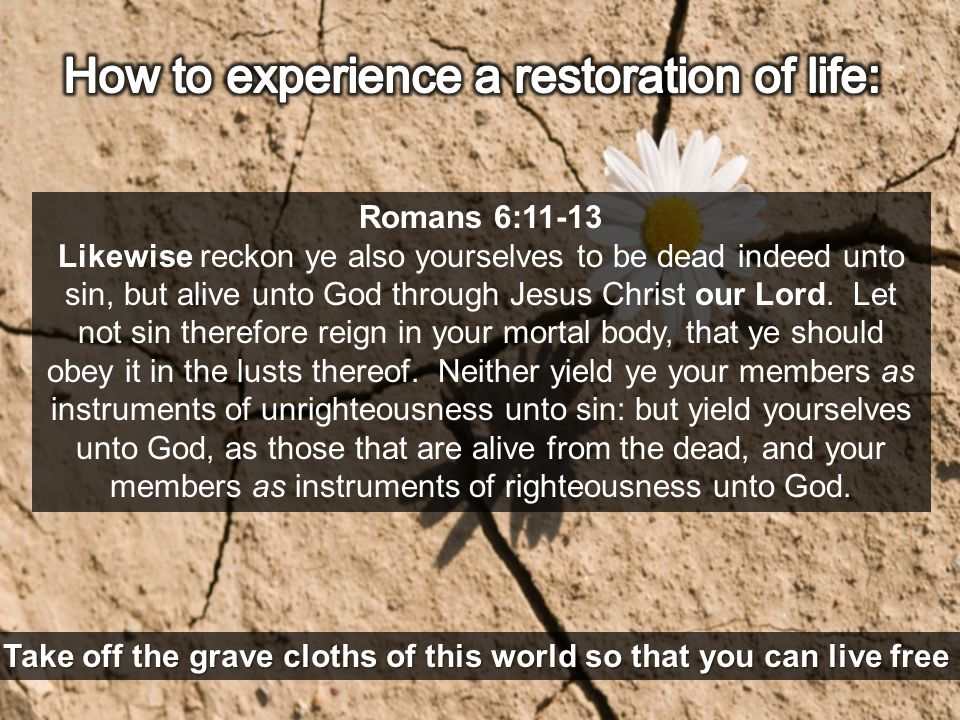 Romans 6:11-13 Likewise reckon ye also yourselves to be dead indeed unto sin, but alive unto God through Jesus Christ our Lord. Let not sin therefore