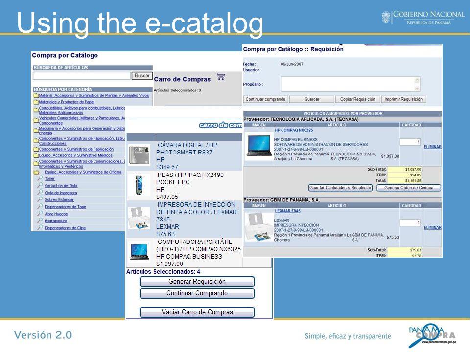 Using the e-catalog