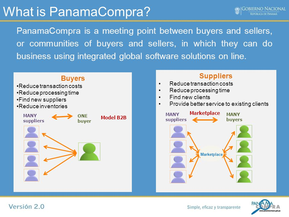 What is PanamaCompra? PanamaCompra is a meeting point between buyers and sellers, or communities of buyers and sellers, in which they can do business