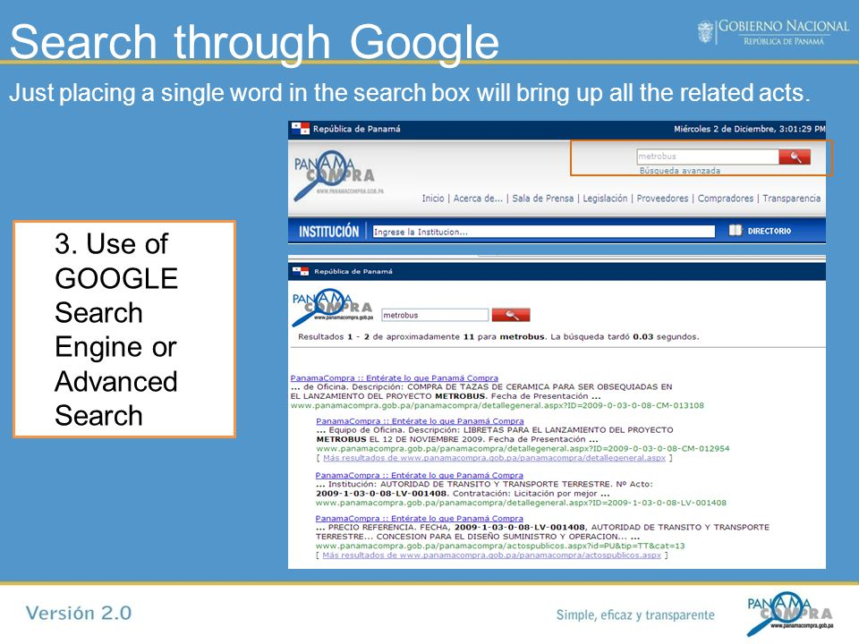 Advanced Search 4. Advanced search by selecting parameters that allow more specific searches