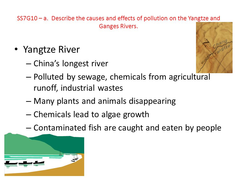 Yangtze River – China's longest river – Polluted by sewage, chemicals from agricultural runoff, industrial wastes – Many plants and animals disappeari