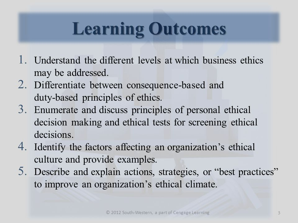 Learning Outcomes © 2012 South-Western, a part of Cengage Learning 1. Understand the different levels at which business ethics may be addressed. 2. Di