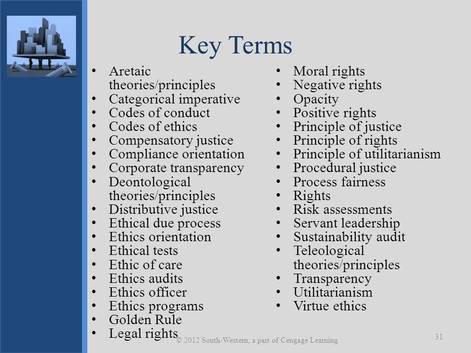 Key Terms Aretaic theories/principles Categorical imperative Codes of conduct Codes of ethics Compensatory justice Compliance orientation Corporate tr