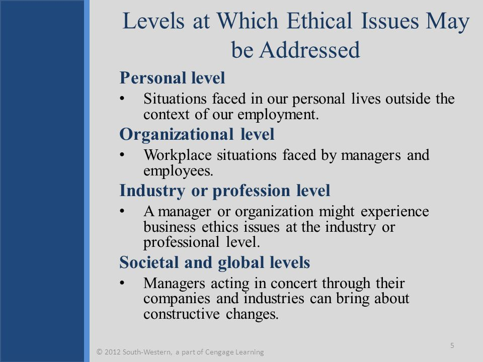 Levels at Which Ethical Issues May be Addressed Personal level Situations faced in our personal lives outside the context of our employment. Organizat