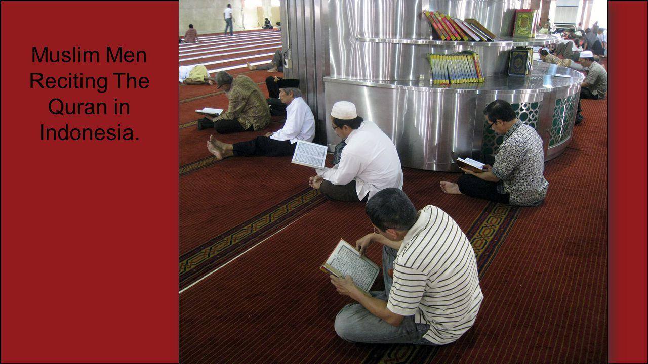 Muslim Men Reciting The Quran in Indonesia.