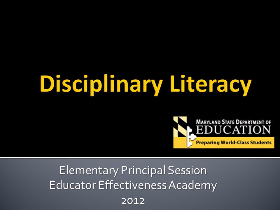 Elementary Principal Session Educator Effectiveness Academy 2012