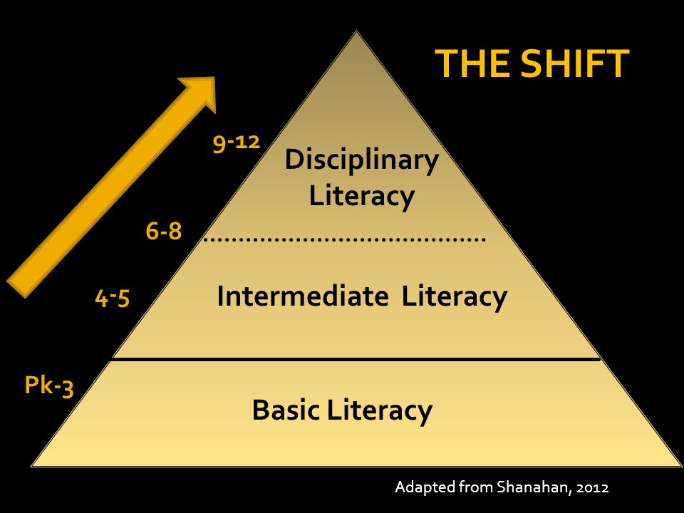 Basic Literacy Intermediate Literacy Disciplinary Literacy Pk-3 4-5 6-8 9-12 Adapted from Shanahan, 2012 THE SHIFT