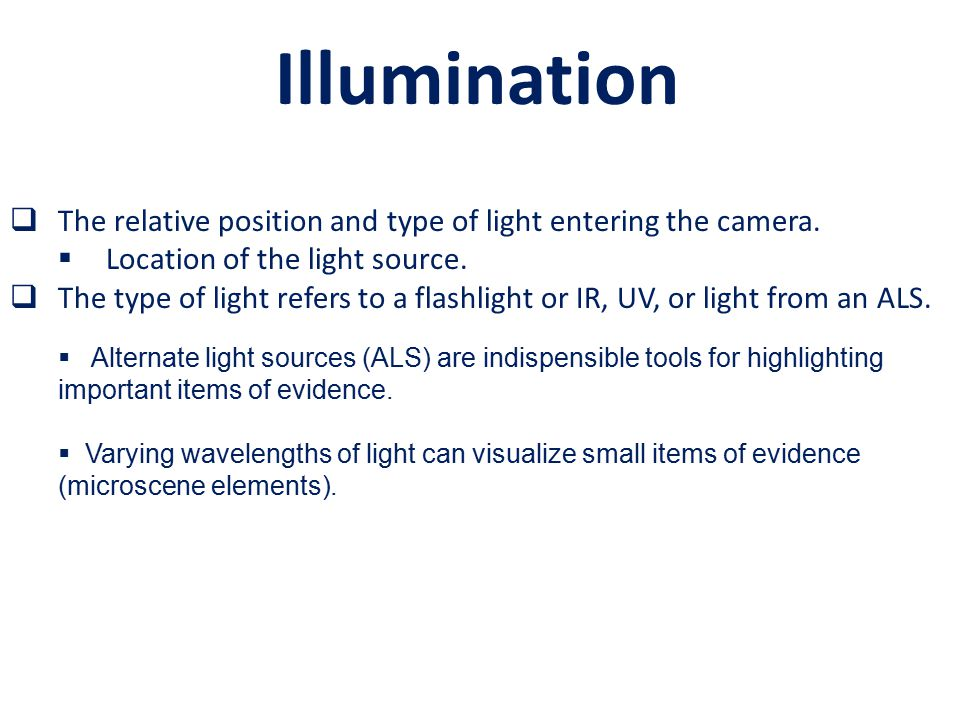  The relative position and type of light entering the camera.