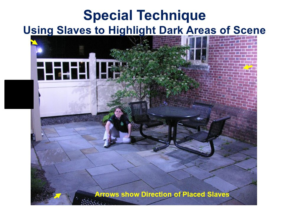 Special Technique Using Slaves to Highlight Dark Areas of Scene Arrows show Direction of Placed Slaves