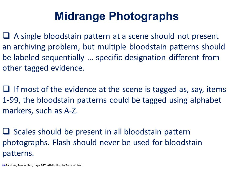  A single bloodstain pattern at a scene should not present an archiving problem, but multiple bloodstain patterns should be labeled sequentially … specific designation different from other tagged evidence.