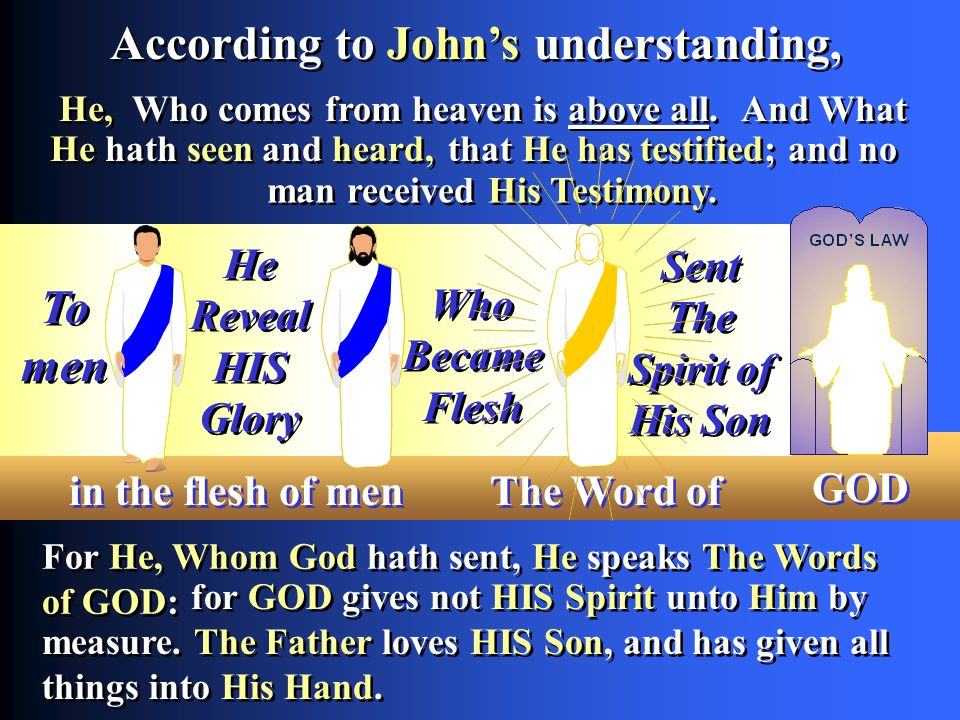 Who Became Flesh Who Became Flesh for GOD gives not HIS Spirit unto Him by measure.