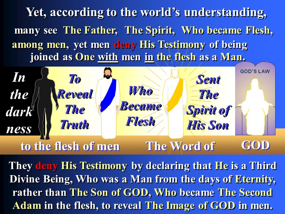yet men deny His Testimony of being They deny His Testimony by declaring that He is a Third Divine Being, Who was a Man from the days of Eternity, rather than The Son of GOD, Who became The Second Adam in the flesh, to reveal The Image of GOD in men.