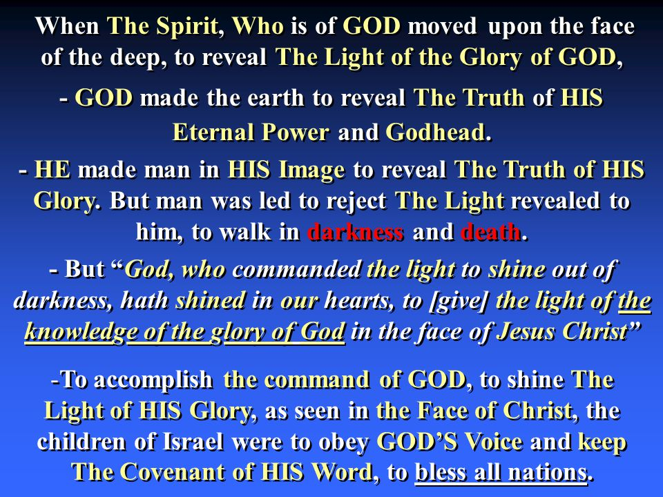 - GOD made the earth to reveal The Truth of HIS Eternal Power and Godhead.