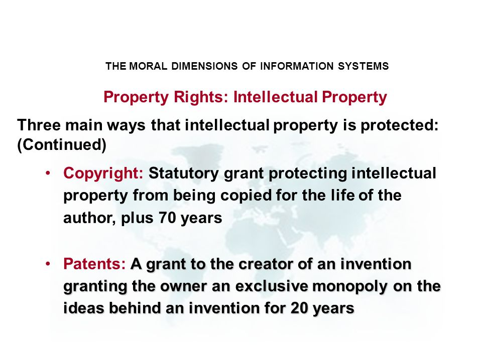 THE MORAL DIMENSIONS OF INFORMATION SYSTEMS Copyright: Statutory grant protecting intellectual property from being copied for the life of the author,