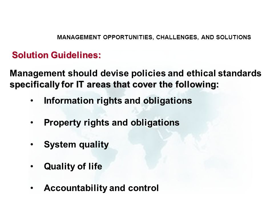 Information rights and obligations Property rights and obligations System quality Quality of life Accountability and control Solution Guidelines: spec