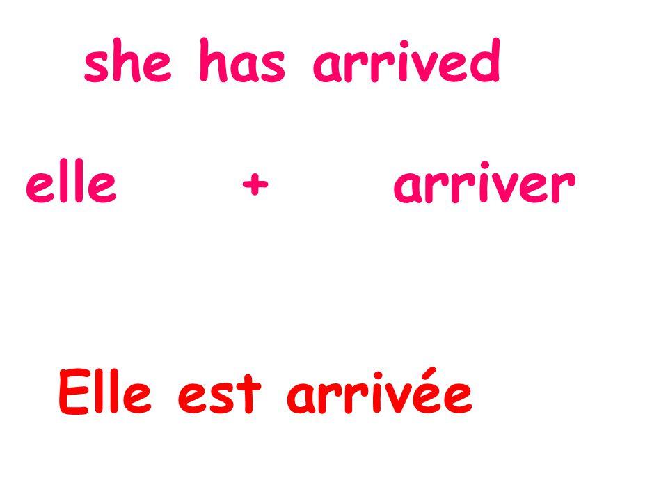 she has arrived elle + arriver Elle est arrivée