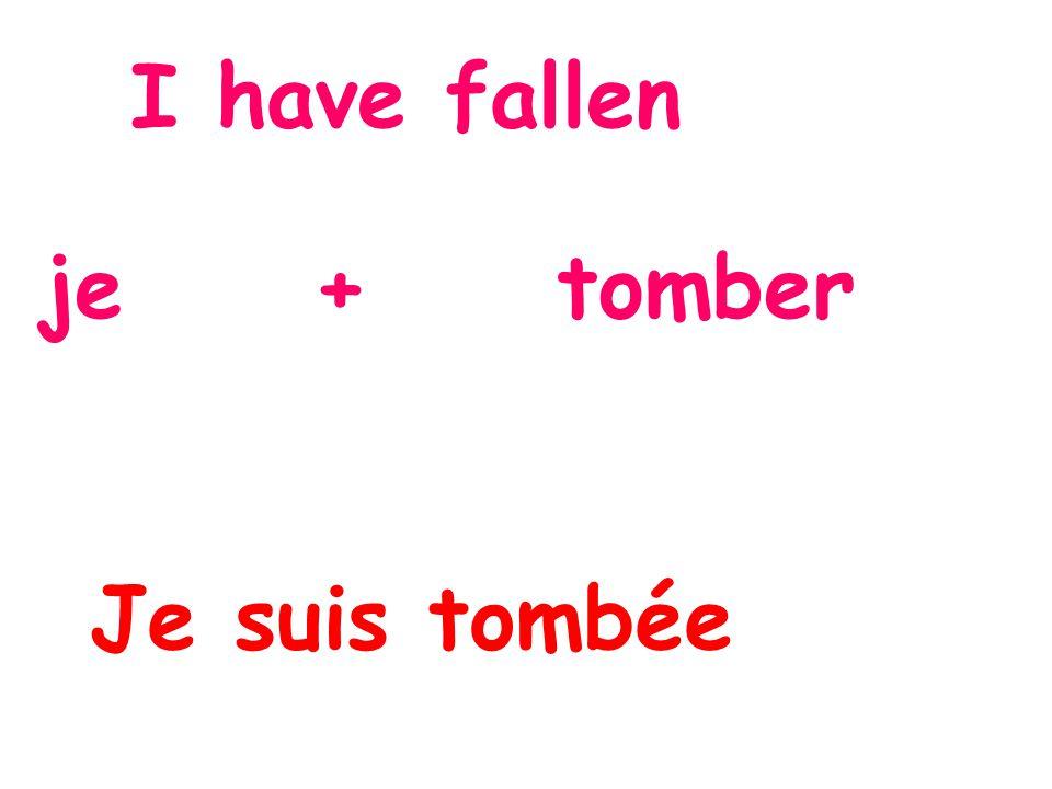 I have fallen je + tomber Je suis tombée