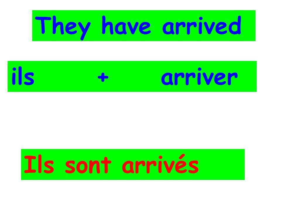 They have arrived ils + arriver Ils sont arrivés