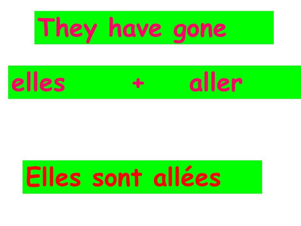 They have gone elles + aller Elles sont allées