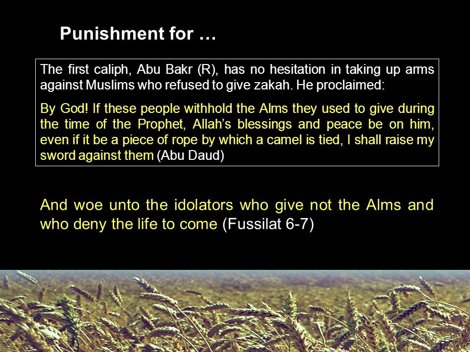 The first caliph, Abu Bakr (R), has no hesitation in taking up arms against Muslims who refused to give zakah. He proclaimed: By God! If these people
