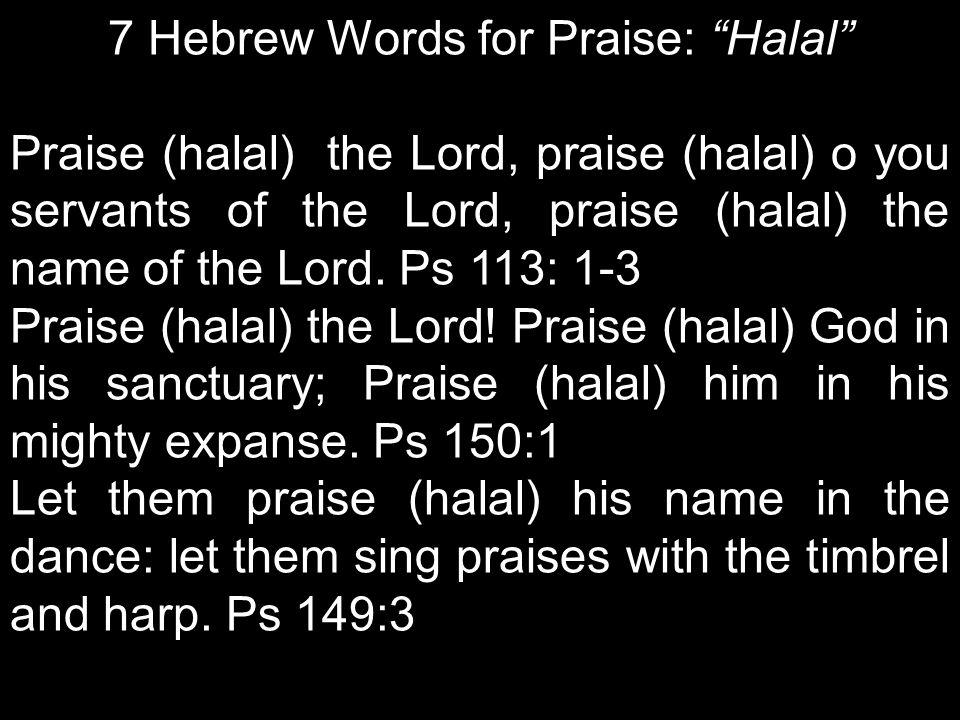 7 Hebrew Words for Praise: Halal Praise (halal) the Lord, praise (halal) o you servants of the Lord, praise (halal) the name of the Lord.