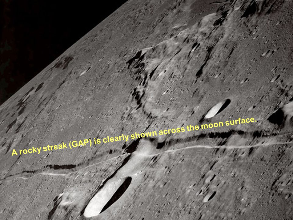 A rocky streak (GAP) is clearly shown across the moon surface.