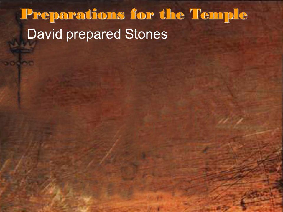 David prepared Stones Preparations for the Temple