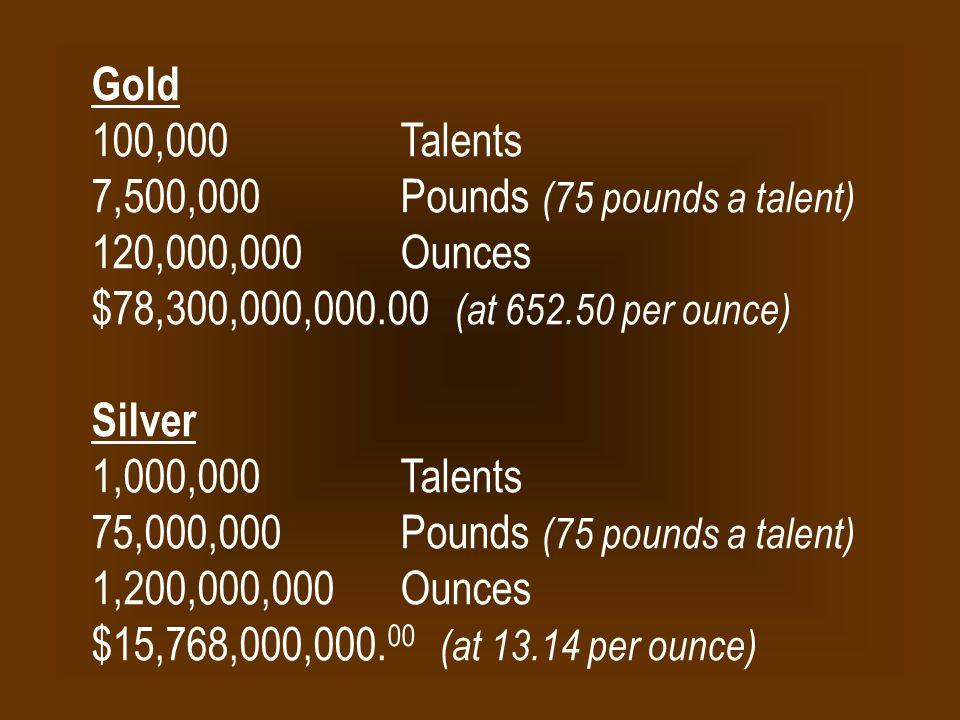 Gold 100,000 Talents 7,500,000 Pounds (75 pounds a talent) 120,000,000 Ounces $78,300,000,000.00 (at 652.50 per ounce) Silver 1,000,000 Talents 75,000,000 Pounds (75 pounds a talent) 1,200,000,000 Ounces $15,768,000,000.