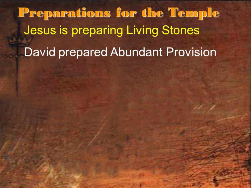 Jesus is preparing Living Stones David prepared Abundant Provision Preparations for the Temple