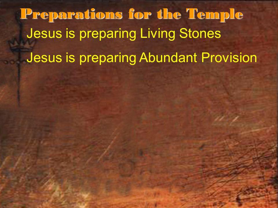 Jesus is preparing Living Stones Jesus is preparing Abundant Provision Preparations for the Temple