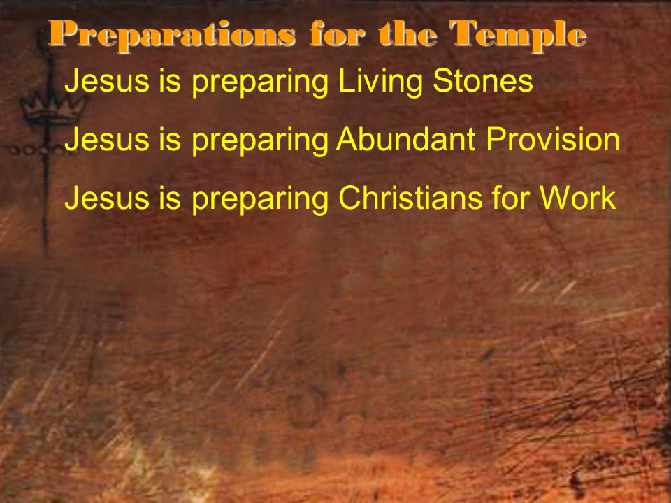 Jesus is preparing Living Stones Jesus is preparing Abundant Provision Jesus is preparing Christians for Work Preparations for the Temple