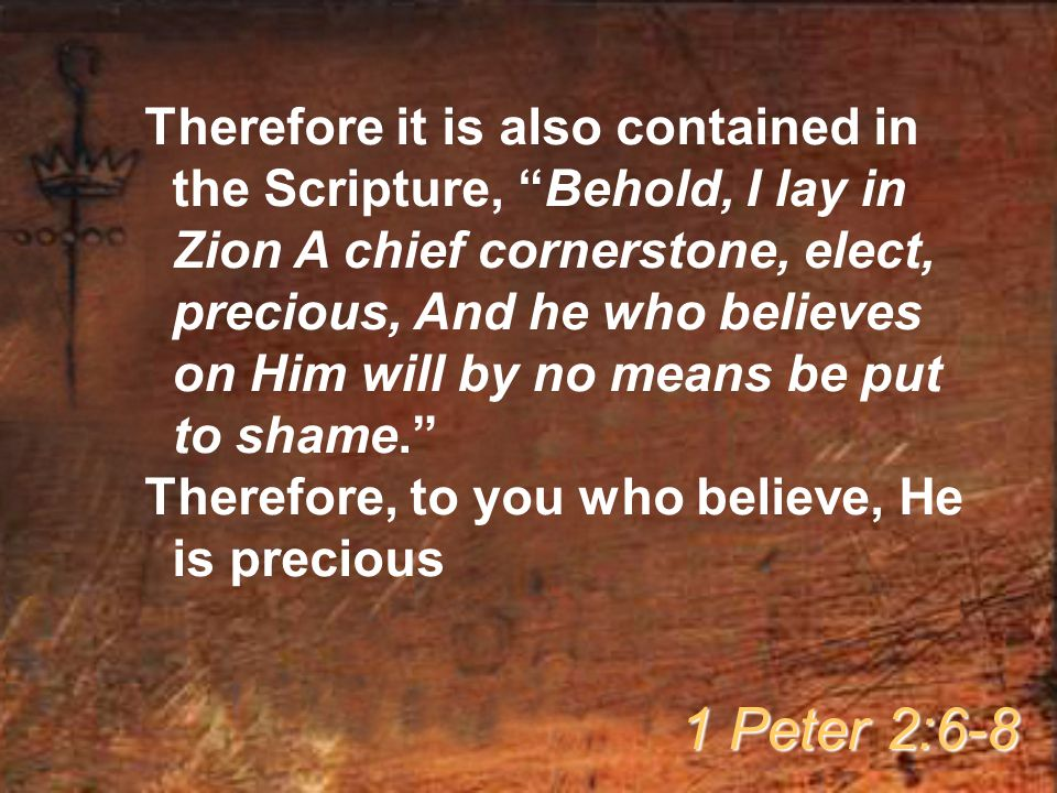 Therefore it is also contained in the Scripture, Behold, I lay in Zion A chief cornerstone, elect, precious, And he who believes on Him will by no means be put to shame. Therefore, to you who believe, He is precious 1 Peter 2:6-8