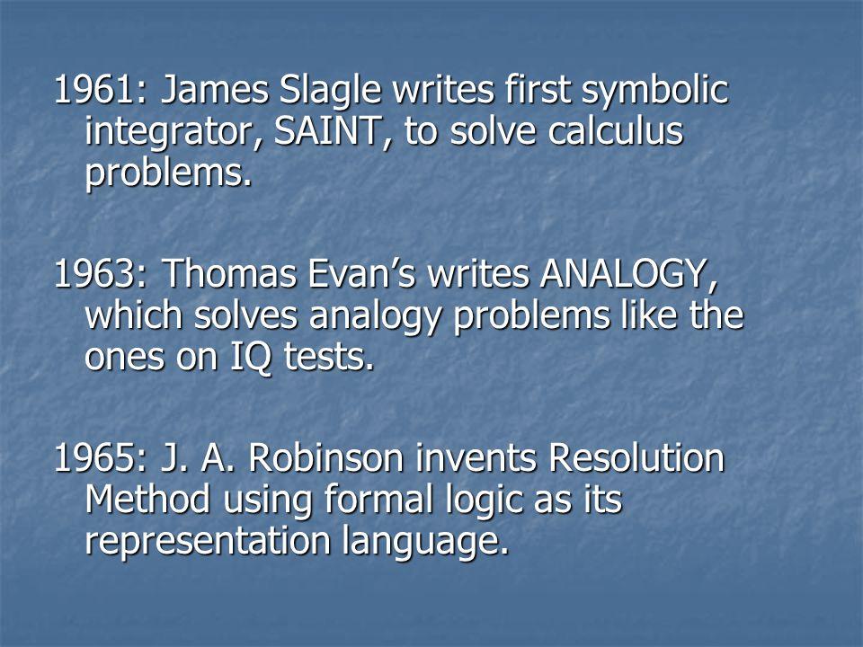 1961: James Slagle writes first symbolic integrator, SAINT, to solve calculus problems.