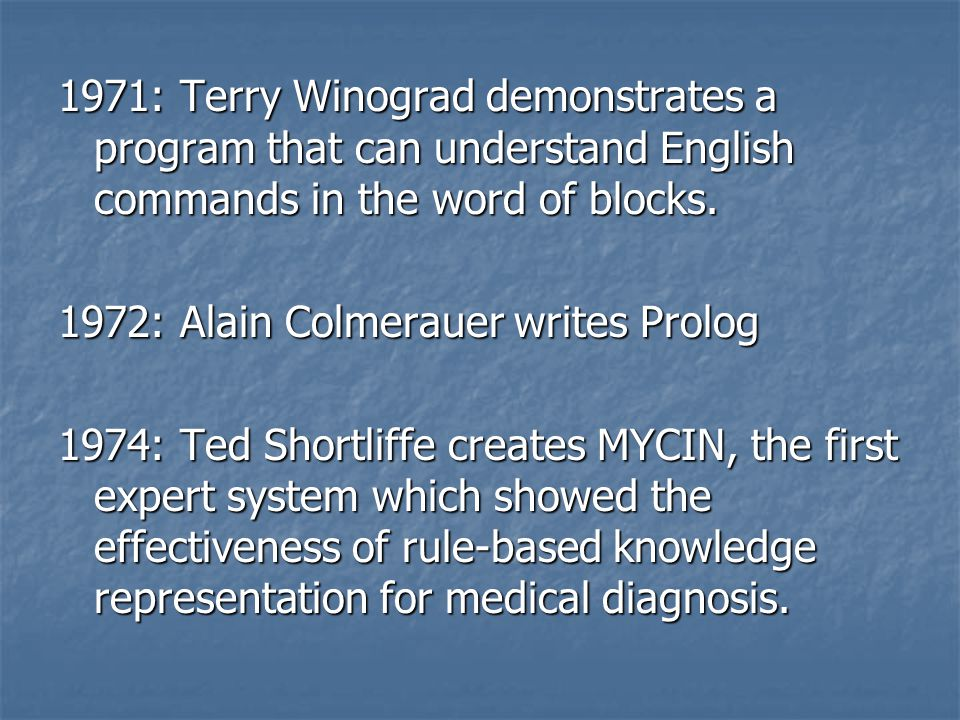 1971: Terry Winograd demonstrates a program that can understand English commands in the word of blocks. 1972: Alain Colmerauer writes Prolog 1974: Ted