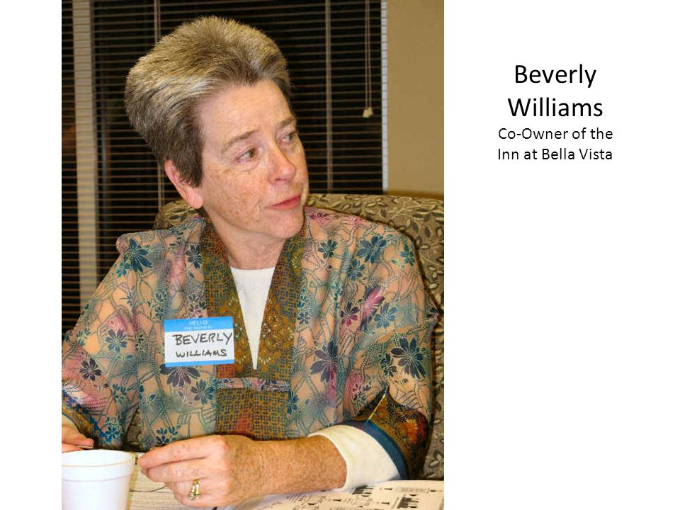 Beverly Williams Co-Owner of the Inn at Bella Vista